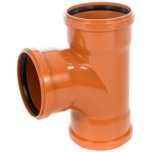 Wavin pvc sewer pipe triple socket 90 branch 160 x for Sewer drain pipe